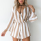 Solid earth playsuit in white and beige - black swallow boutique