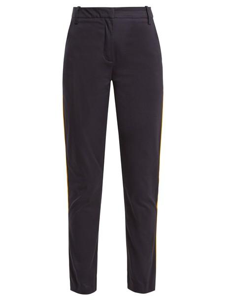 high cotton navy pants