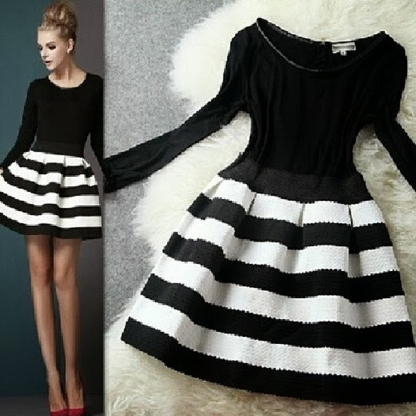 dress black and white stripes