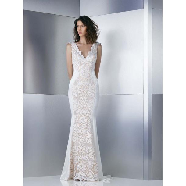 dress bridesmaid wedding dress sheath Gemy Maalouf long sleeves