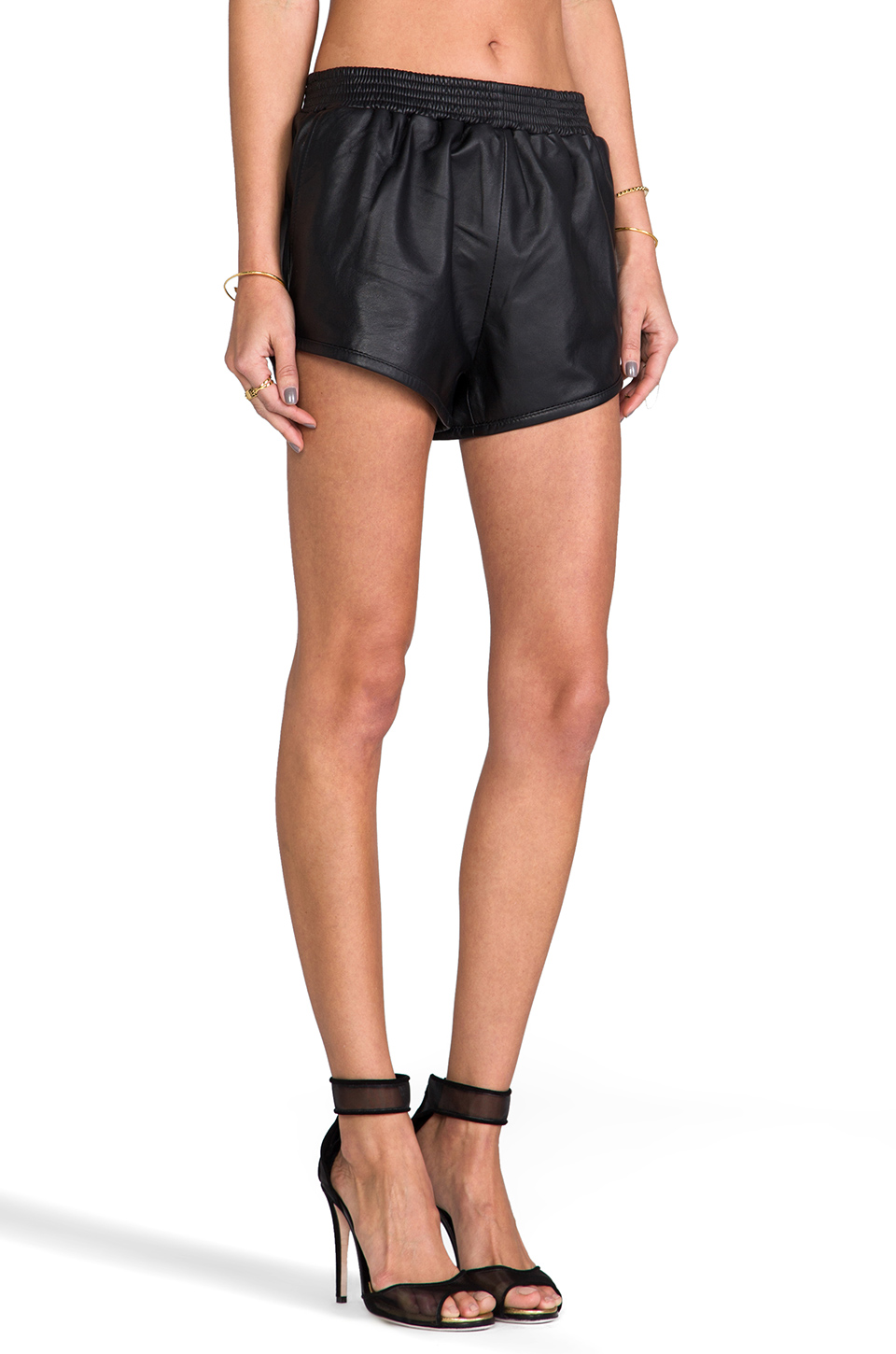 Viparo Bailey Leather Track Shorts in Black | REVOLVE