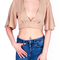 Deep v-neck chiffon blouse with bandage detail|disheefashion