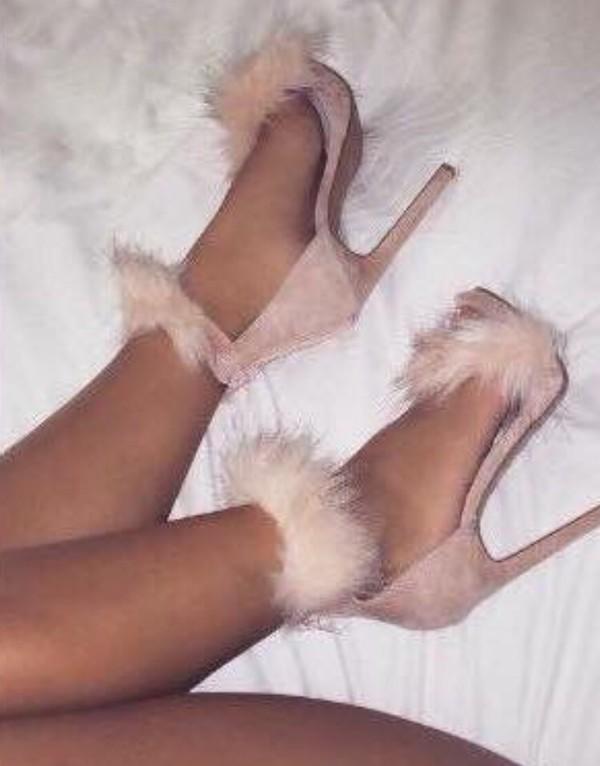 shoes pink fluffy heels feathers nude nude heels sandal heels high heel sandals