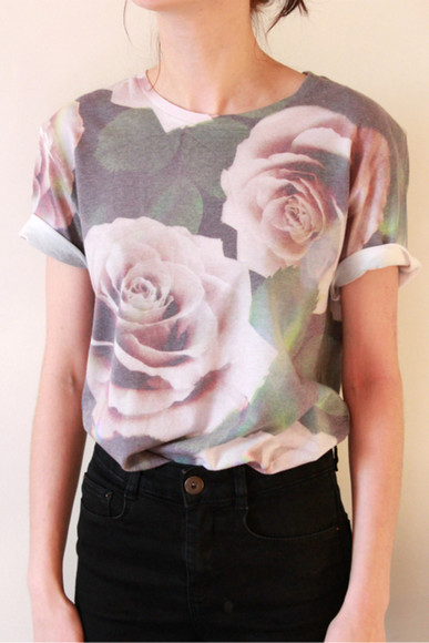blouse simple t-shirt roses flowers flower print t shirt print t shirt nude green pink roses leaf print leaves leave me alone floral t shirt top everybody wants