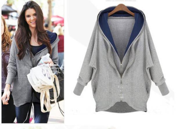 Fashion loose irregular type double zipper hooded fleece jacket