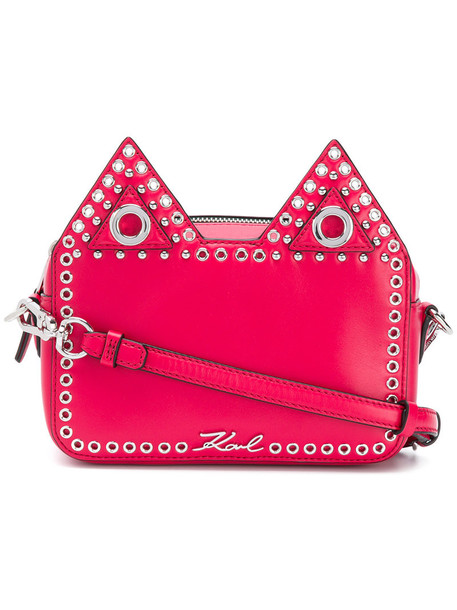 karl lagerfeld women bag leather purple pink