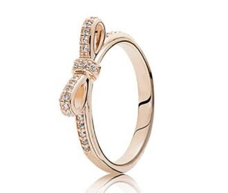 jewels ring rose gold diamonds bow silver nice pandora