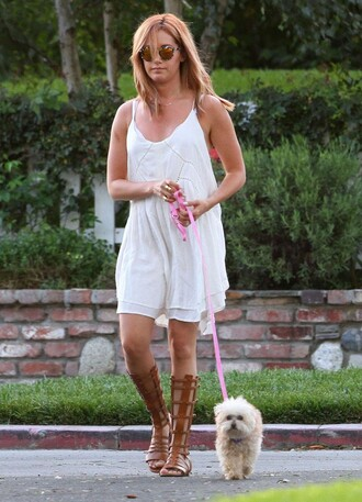 dress gladiators sandals ashley tisdale white dress summer dress summer outfits shoes sunglasses