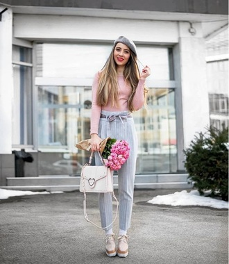 hat beret grey hat pants grey pants high waisted pants top pink top shoes platform shoes spring outfits