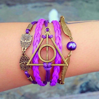 jewels owl braided bracelets adorable wizard magic fun cool stylish harry potter horcrux golden snitch layered hogwarts potterhead hermione ron weasley voldemort gryffindor