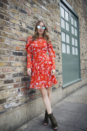 at fashion forte,blogger,dress,sunglasses,shoes,red dress,mini dress,ankle boots,peep toe boots