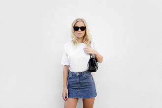 victoria tornegren blogger sunglasses white top mini skirt denim skirt skirt blue skirt t-shirt white t-shirt black sunglasses bag black bag