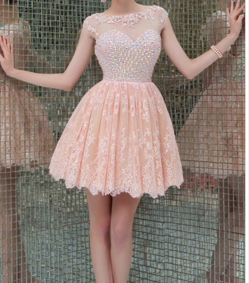 dress prom dress cap sleeves mesh nude pink skirt beaded short dresses