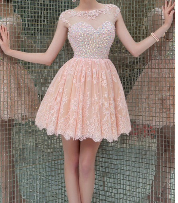 dress nude pink skirt beaded short dresses prom dress cap sleeves mesh