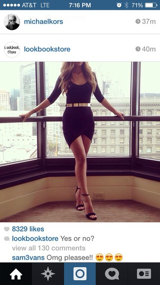 Belt long sleeve dress little black dress
