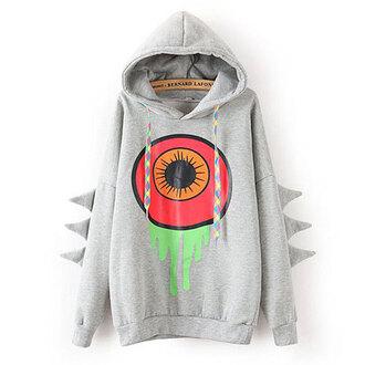 shirt sweatshirt hood big eye cute