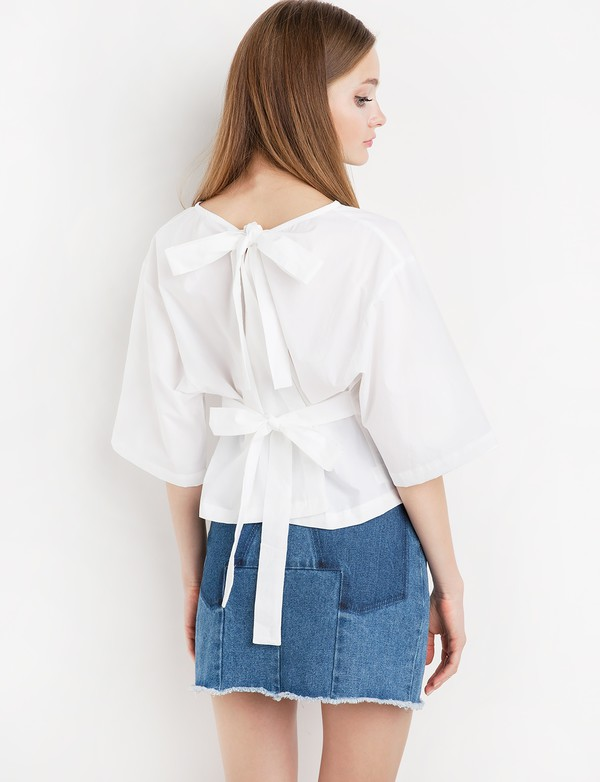 top white tie back top back tie white top cute top summer top summer top wrap bow tie back shirt wrap bow tie trend pixiemarket