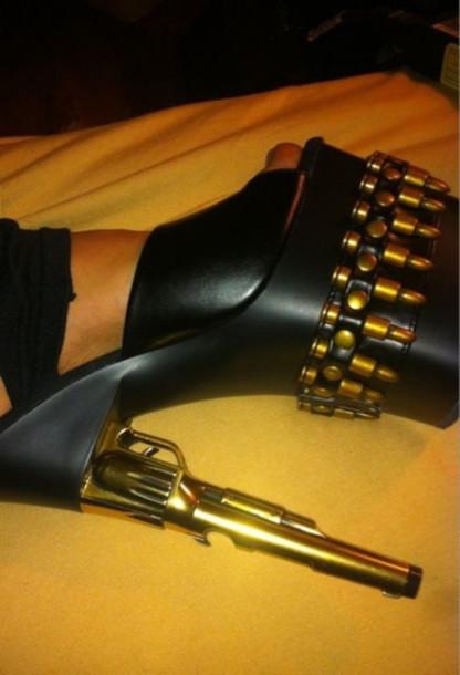 black shoes gun sandals shoes amo sexy black heels straps gun pink gun heels black heels gold stilettos
