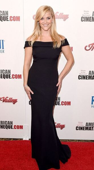 dress gown prom dress black dress off the shoulder reese witherspoon maxi dress red carpet dress