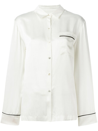 shirt women white silk top