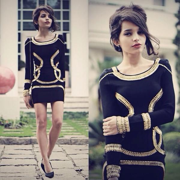 dress black dress short dress gold
