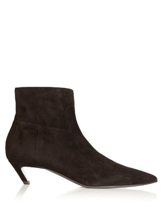 heel boot suede black shoes
