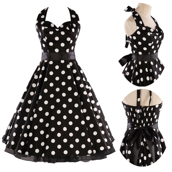 Polka dot Swing 1950s pinup Dress Vintage Rockabilly Evening Prom ...
