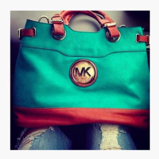 bag teal & brown michael kors  bagg