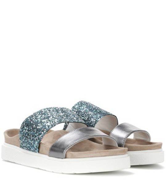Inuikii Glitter and leather slides in blue