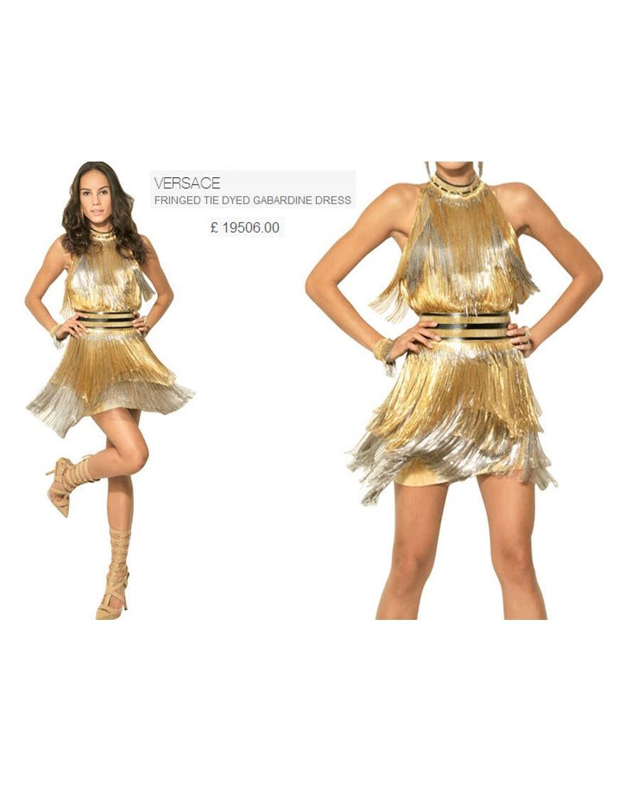 Fringed metallic gold halter neck dress