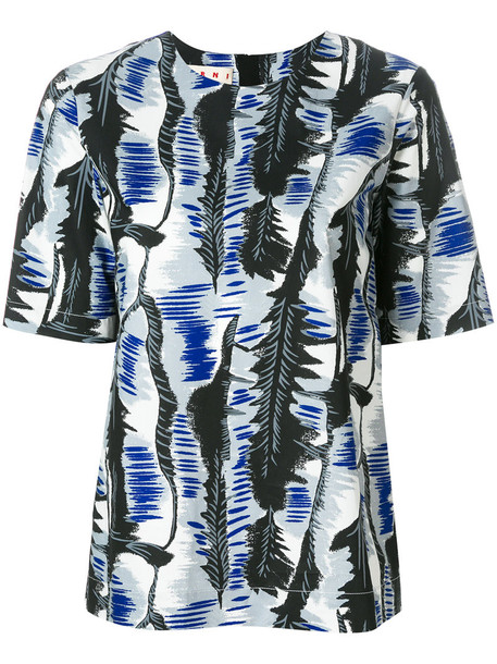 MARNI blouse women cotton print blue top