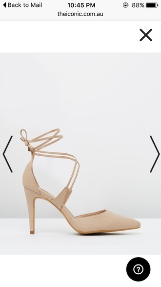 shoes beige nude strappy lace up pointed toe high heel