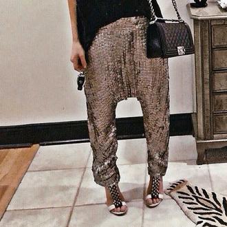 pants harem pants harem sequins metallic