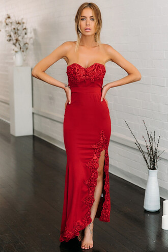 dress formal red red dress long dress lace dress maxi dress bodycon dress red lace dress red lace elegant dress