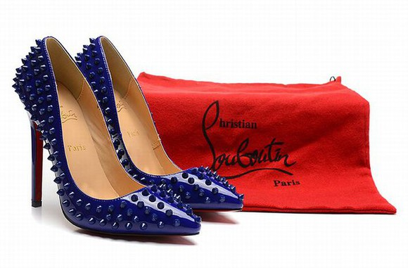 shoes blue christian louboutin pigalle 120 spiked leather blue heels pumps rebottom pumps christian louboutin sale 120mm blue dress red sole shoes high heels