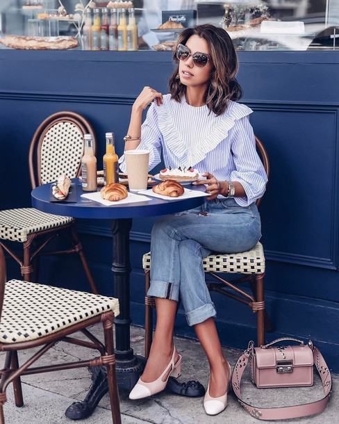 shirt tumblr stripes striped shirt ruffle ruffle shirt denim jeans blue jeans cuffed jeans shoes chanel chanel slingbacks slingbacks mid heel sandals bag pink bag spring outfits sunglasses blogger viva luxury spring work outfit