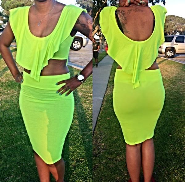 dress neon neon dress set crop tops
