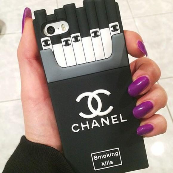 iphone case phone case iphone 5 case cigarrettes chanel case iphone 5s cover black chanel black chanel case