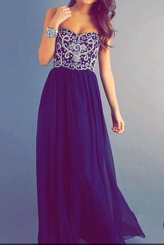 dress prom dress navy blue dress