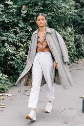 coat,tumblr,grey coat,shirt,pajama style,pants,white pants,cropped pants,sneakers,white sneakers,streetstyle