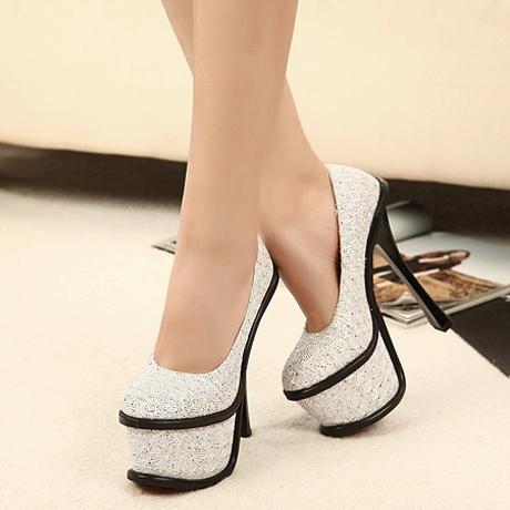 [US$38.93] - Vogue Sparkle Sequin Decoration Platform Silver High Heels : ThatsPoint.com