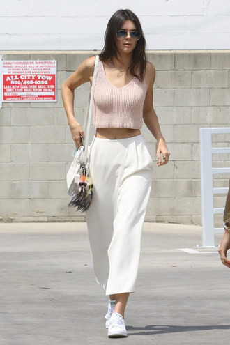 top pants kendall jenner sneakers crop