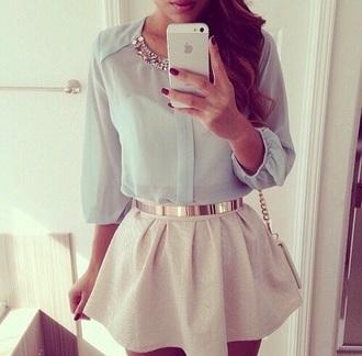 blouse pastel weheartit cute skirt hat belt nail polish
