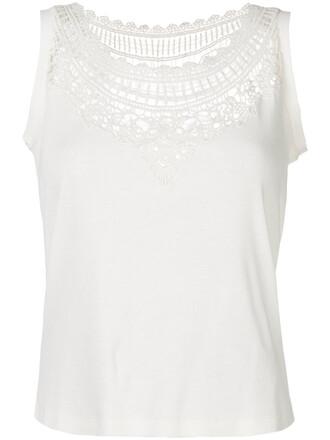 tank top top women white cotton crochet