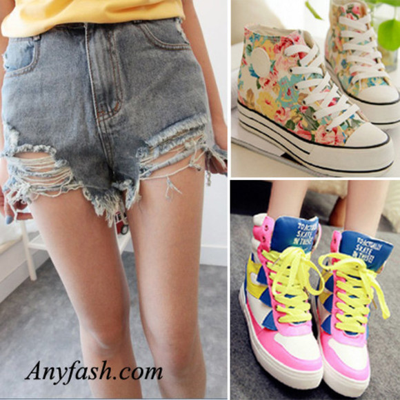 shoes flat shorts denim short hole