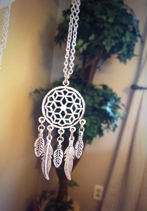 Silver dream catcher necklace by gypsysoulsx on etsy