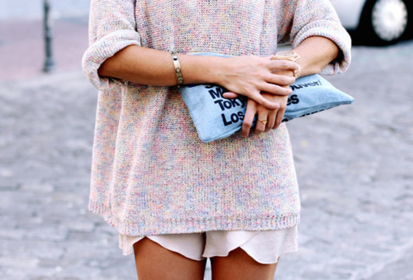 summer shorts pullover maille oversized sweater pastel knitted sweater bag pastel sweater