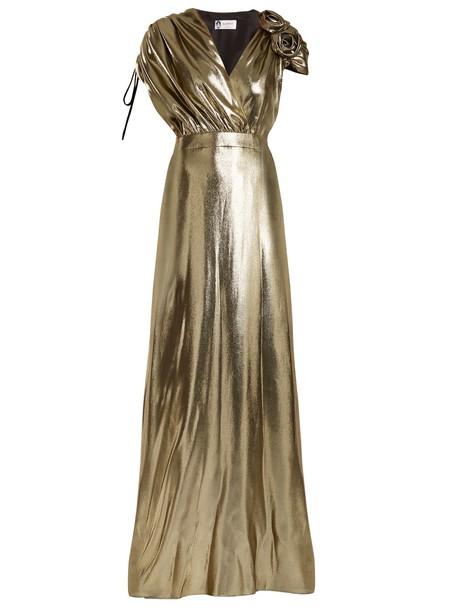 lanvin gown embellished silk gold dress