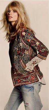 jacket,embroidred,boho,gold,oriental