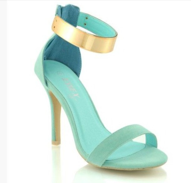 shoes heels ankle strap heels mint mid heel sandals